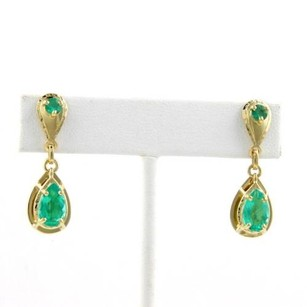 Magnificent 18kt Yellow Gold 3.50ctw Emerald Drop Dangle Earrings