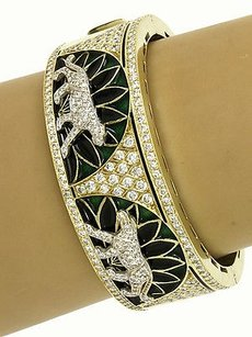 Magnificent Two Tone Gold 5.5ctw Diamond Enamel Panther Design Wide Bracelet