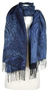 Other Manifatture Tessile Chiti Womens Blue Black Animal Print Marbled Scarf Acrylic