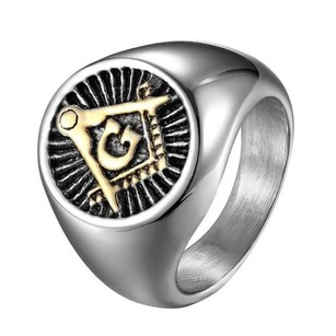 Stainless Steel Freemason Ring Masonic G Mason Symbol Religious Round Face
