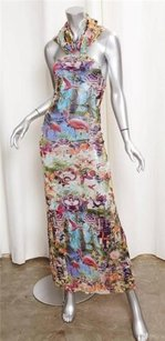 Multi-Color Maxi Dress by Other Jean Paul Gaultier Soleil Floral Flamingo Halter Sheath Maxi