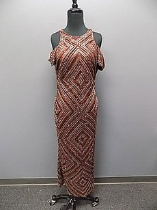 Purple Gold Silver Maxi Dress by Other Naeem Khan Saks Fifth Avenue Sequined Formal Gown 853a