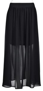 Other Wilster Womens Maxi Semi Sheer Casual Long Ankle Length Skirt Black