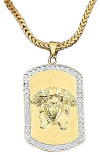 Medusa Dog Tag Pendant Necklace Set 18k Gold Lab Diamond Franco Chain Charm Set