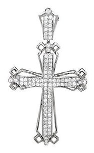 Other Men Or Ladies 14k White Gold Pave Genuine Diamond Cross Charm Pendant 1ct. 2.0
