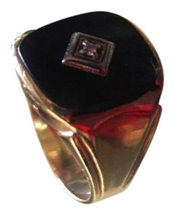 Amazing Mens Ring 10k Yellow Gold Onyx Ring Size 8.5