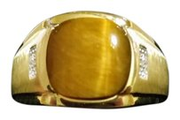 Other Men Tigers Eye 10kt Gold Ring