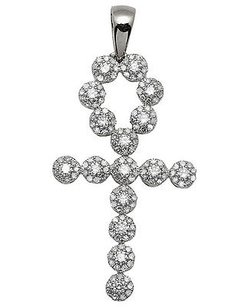 Mens 10k White Gold Egyptian Ankh Cluster Genuine Diamond Pendant Charm 1ct 1.7