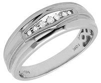 Mens 10k White Gold Genuine Diamond One Row Comfort Fit Wedding Band Ring .25ct