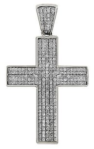 Mens 10k White Gold Mini Puff Pave Genuine Diamond Cross Pendant 1.30 Ct 1.75