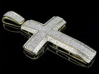 Mens 10k Yellow Gold Double Cross Dome Real Diamond Charm Pendant 1.50ct In