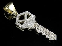 Mens 10k Yellow Gold Genuine Diamonds Key Pendant Charm 0.75 Ct 1.6 Inch