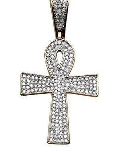 Mens 10k Yellow Gold Iced Out Eygptian Ankh Genuine Diamond Pendant 0.65 Ct 1.5
