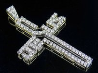 Mens 10k Yellow Gold Jesus Cross Genuine Diamond Pendant Charm 2.25ct 2.2 Inch