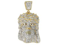 Mens 10k Yellow Gold Jesus Face Head Piece Diamond Pendant 1.0 Ct 1.2 Inches