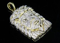 Other Mens 10k Yellow Gold Jesus Face Head Piece Genuine Diamond Pendant 1.15 Ct