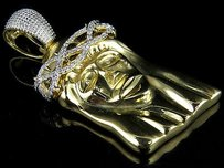 Mens 10k Yellow Gold Jesus Face Real Diamond Crown Pendant Charm 0.70ct In