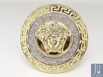 Mens 10k Yellow Gold Round Cut Pave Medusa Diamond Designer Fashion Ring 1 Ct
