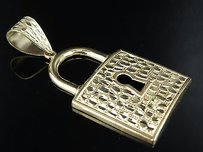 Mens 10k Yellow Gold With Keyhole Padlock Pendant And Nugget Design