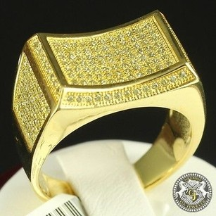 Mens 14k Gold On Italian Sterling Silver Lab Canary Diamond Ring Band Pinky
