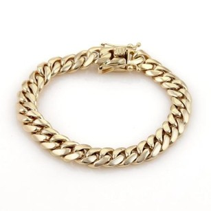 Mens 14k Yellow Gold 10mm Wide Curb Link Chain Bracelet 68 Grams 8 Long