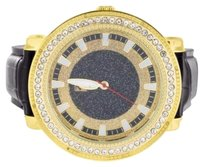 Mens 14k Yellow Gold Finish Lab Diamond Bezel Mens Iced Out Leather Band Watch