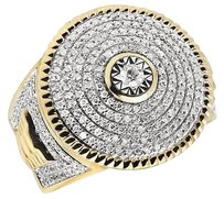 Mens 14k Yellow Gold Real Diamond Round Frame Iced Step Shank Pinky Ring 1.33ct