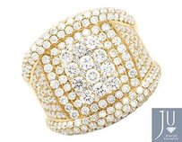 Mens 14k Yellow Gold Round Genuine Diamond Statement Wedding Ring 6ct 22mm