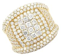 Other Mens 14k Yellow Gold Round Genuine Diamond Statement Wedding Ring 6ct 22mm