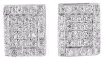 Mens Earring Square Round Simulated Stones .925 Silver White Gold Finish