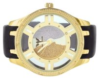 Other Mens Golden Silver Two Face Dial Jojo Watch Diamond King Rubber Band In Yellow