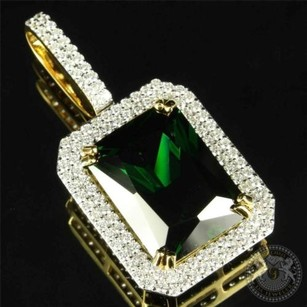 Mens Iced Celebrity Pendant Birdman Bling Princess Cut Lab Emerald Silver Charm