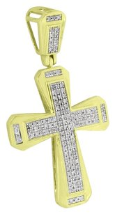 Mens Jesus Cross Pendant 10k Yellow Gold Pave Set Diamonds Jesus Charm High End