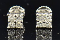 Other Mens Ladies 14k White Gold Round Cut Diamond Square Studs Earrings 0.31 Ct.