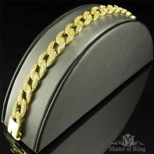 Mens Miami Cuban Bracelet 14k Yellow Gold Finish Entirely Iced Out Lab Diamond