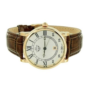 Mens Ny London Watch White Dial Brown Leather Strap Roman Numeral Steel Back