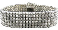Mens Row Toni 10k Solid White Gold Genuine Mm Diamond Bracelet Bangle Ct