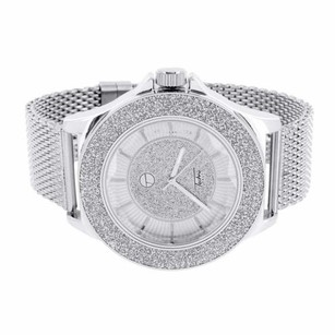 Mens Silver Tone Watch Illusion Dial Bezel Mesh Band Techno Pave Custom Style
