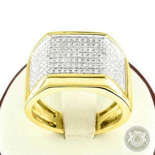 Mens Solid 10k Yellow Gold 0.50 Carat Diamond Grooms Wedding Band Casual Ring