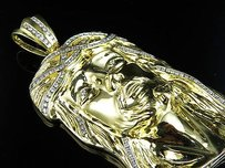 Other Mens Solid Yellow Gold Jesus Face Piece Diamond Inch Pendant Charm Ct