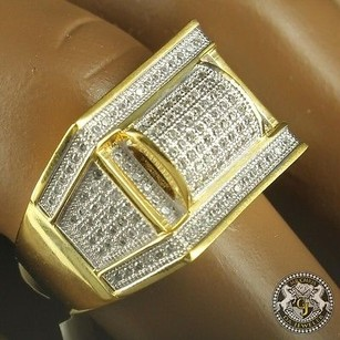 Mens Yellow Gold Finish High Quality Silver Square Face Wedding Band Pinky Ring