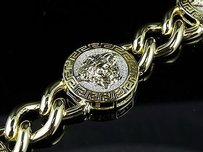 Mens Yellow Gold Finish Medusa Miami Cuban Genuine Diamond Bracelet 1.30ct In
