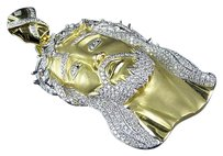Other Mens Yellow Gold Jesus Face Piece Genuine Diamond Inch Pendant Charm 6.0ct.