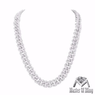 Miami Cuban Link Chain Mens 14k White Gold Finish Iced Out Simulated Diamonds