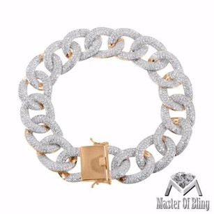 Miami Cuban Mens Bracelet Rose Gold Finish Simulated Diamonds Iced Out Mens