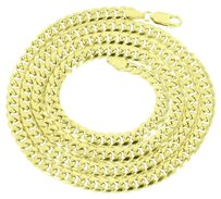 Miami Cuban Mens Necklace Mm 10k Real Yellow Gold Inch Lobster Lock