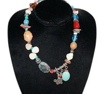 Mixed Stone Chunky Chic Artisan Multi-color Necklace Nickel Accents Bin 702-24