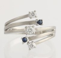 Moissanite Sapphire Bypass Cocktail Ring - 14k White Gold Contemporary Modern