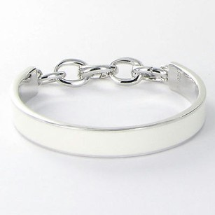 Monica Rich Kosann Bracelet Bright Charm Bangle White Enamel 925
