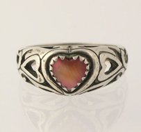 Mother Of Pearl Heart Ring - 925 Sterling Silver Band Womens Fine Estate 4-4.25